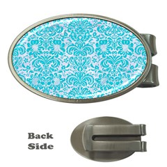 Damask2 White Marble & Turquoise Colored Pencil (r) Money Clips (oval)  by trendistuff