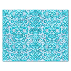 Damask2 White Marble & Turquoise Colored Pencil (r) Rectangular Jigsaw Puzzl