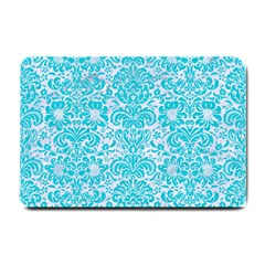 Damask2 White Marble & Turquoise Colored Pencil (r) Small Doormat  by trendistuff