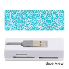 Damask2 White Marble & Turquoise Colored Pencil (r) Memory Card Reader (stick)  by trendistuff