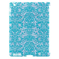 Damask2 White Marble & Turquoise Colored Pencil (r) Apple Ipad 3/4 Hardshell Case (compatible With Smart Cover) by trendistuff