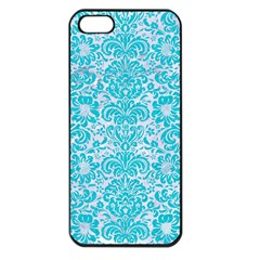 Damask2 White Marble & Turquoise Colored Pencil (r) Apple Iphone 5 Seamless Case (black) by trendistuff
