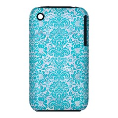 Damask2 White Marble & Turquoise Colored Pencil (r) Iphone 3s/3gs by trendistuff
