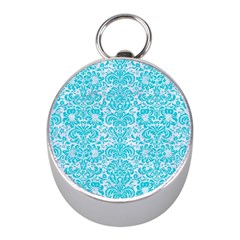 Damask2 White Marble & Turquoise Colored Pencil (r) Mini Silver Compasses by trendistuff