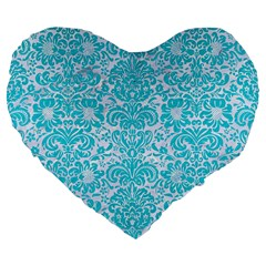 Damask2 White Marble & Turquoise Colored Pencil (r) Large 19  Premium Flano Heart Shape Cushions by trendistuff