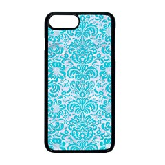 Damask2 White Marble & Turquoise Colored Pencil (r) Apple Iphone 8 Plus Seamless Case (black)