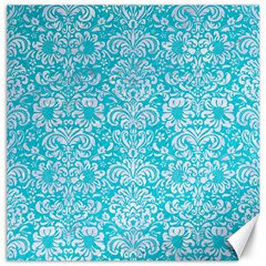 Damask2 White Marble & Turquoise Colored Pencil Canvas 12  X 12   by trendistuff