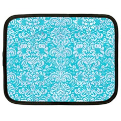 Damask2 White Marble & Turquoise Colored Pencil Netbook Case (xl)  by trendistuff