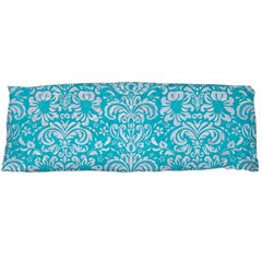 Damask2 White Marble & Turquoise Colored Pencil Body Pillow Case (dakimakura) by trendistuff