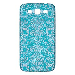 Damask2 White Marble & Turquoise Colored Pencil Samsung Galaxy Mega 5 8 I9152 Hardshell Case  by trendistuff