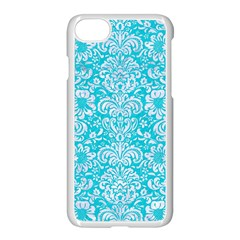 Damask2 White Marble & Turquoise Colored Pencil Apple Iphone 7 Seamless Case (white) by trendistuff