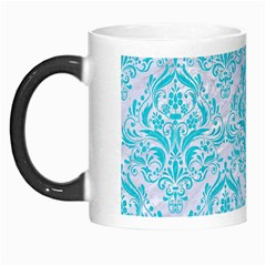 Damask1 White Marble & Turquoise Colored Pencil (r) Morph Mugs