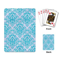 Damask1 White Marble & Turquoise Colored Pencil (r) Playing Card by trendistuff
