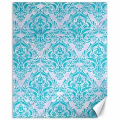 Damask1 White Marble & Turquoise Colored Pencil (r) Canvas 16  X 20   by trendistuff