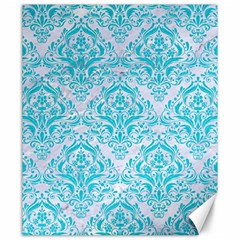 Damask1 White Marble & Turquoise Colored Pencil (r) Canvas 20  X 24   by trendistuff