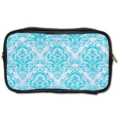 Damask1 White Marble & Turquoise Colored Pencil (r) Toiletries Bags 2 Side by trendistuff