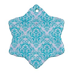 Damask1 White Marble & Turquoise Colored Pencil (r) Snowflake Ornament (two Sides) by trendistuff