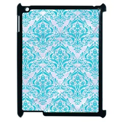 Damask1 White Marble & Turquoise Colored Pencil (r) Apple Ipad 2 Case (black) by trendistuff