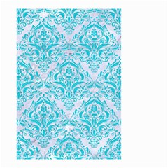 Damask1 White Marble & Turquoise Colored Pencil (r) Small Garden Flag (two Sides) by trendistuff