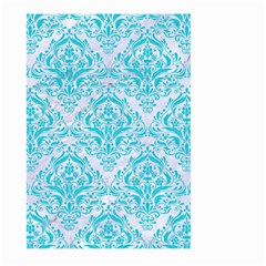 Damask1 White Marble & Turquoise Colored Pencil (r) Large Garden Flag (two Sides) by trendistuff