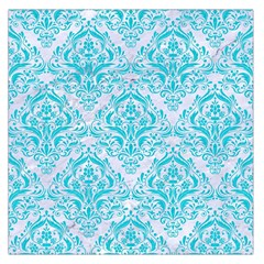Damask1 White Marble & Turquoise Colored Pencil (r) Large Satin Scarf (square)