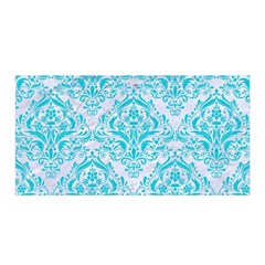 Damask1 White Marble & Turquoise Colored Pencil (r) Satin Wrap by trendistuff
