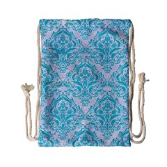 Damask1 White Marble & Turquoise Colored Pencil (r) Drawstring Bag (small) by trendistuff