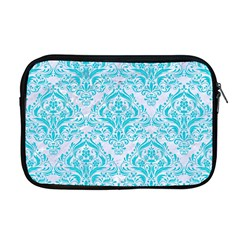 Damask1 White Marble & Turquoise Colored Pencil (r) Apple Macbook Pro 17  Zipper Case by trendistuff