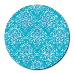 Damask1 White Marble & Turquoise Colored Pencil Round Mousepads by trendistuff