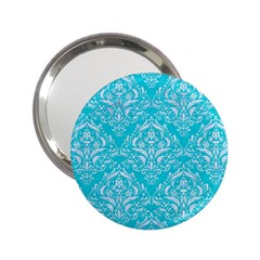 Damask1 White Marble & Turquoise Colored Pencil 2 25  Handbag Mirrors by trendistuff