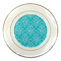 Damask1 White Marble & Turquoise Colored Pencil Porcelain Plates by trendistuff