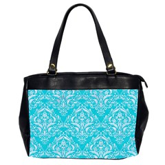Damask1 White Marble & Turquoise Colored Pencil Office Handbags (2 Sides)  by trendistuff