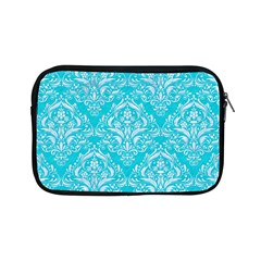 Damask1 White Marble & Turquoise Colored Pencil Apple Ipad Mini Zipper Cases by trendistuff