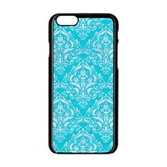 Damask1 White Marble & Turquoise Colored Pencil Apple Iphone 6/6s Black Enamel Case by trendistuff