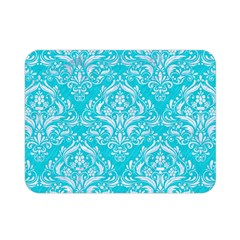 Damask1 White Marble & Turquoise Colored Pencil Double Sided Flano Blanket (mini)  by trendistuff