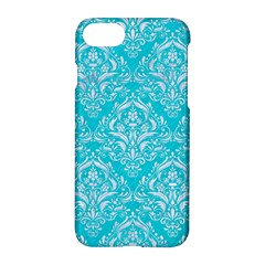 Damask1 White Marble & Turquoise Colored Pencil Apple Iphone 7 Hardshell Case by trendistuff
