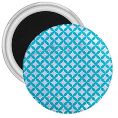 Circles3 White Marble & Turquoise Colored Pencil (r) 3  Magnets by trendistuff