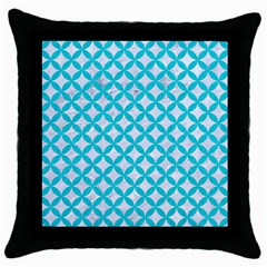 Circles3 White Marble & Turquoise Colored Pencil (r) Throw Pillow Case (black)