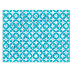 Circles3 White Marble & Turquoise Colored Pencil (r) Rectangular Jigsaw Puzzl by trendistuff