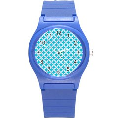 Circles3 White Marble & Turquoise Colored Pencil Round Plastic Sport Watch (s) by trendistuff