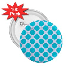 Circles2 White Marble & Turquoise Colored Pencil (r)encil (r) 2 25  Buttons (100 Pack)