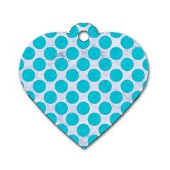 Circles2 White Marble & Turquoise Colored Pencil (r)encil (r) Dog Tag Heart (two Sides) by trendistuff