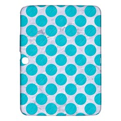 Circles2 White Marble & Turquoise Colored Pencil (r)encil (r) Samsung Galaxy Tab 3 (10 1 ) P5200 Hardshell Case  by trendistuff