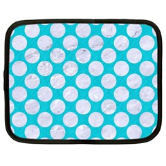 Circles2 White Marble & Turquoise Colored Pencil Netbook Case (xl)  by trendistuff