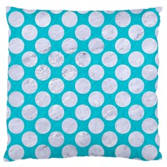 Circles2 White Marble & Turquoise Colored Pencil Large Flano Cushion Case (two Sides) by trendistuff