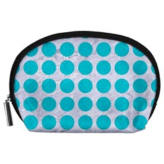 Circles1 White Marble & Turquoise Colored Pencil (r) Accessory Pouches (large)  by trendistuff