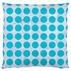 Circles1 White Marble & Turquoise Colored Pencil (r) Standard Flano Cushion Case (one Side)