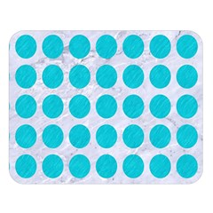 Circles1 White Marble & Turquoise Colored Pencil (r) Double Sided Flano Blanket (large)