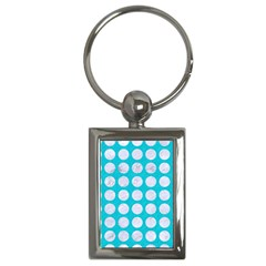 Circles1 White Marble & Turquoise Colored Pencil Key Chains (rectangle)  by trendistuff