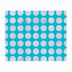 Circles1 White Marble & Turquoise Colored Pencil Small Glasses Cloth (2 Side) by trendistuff